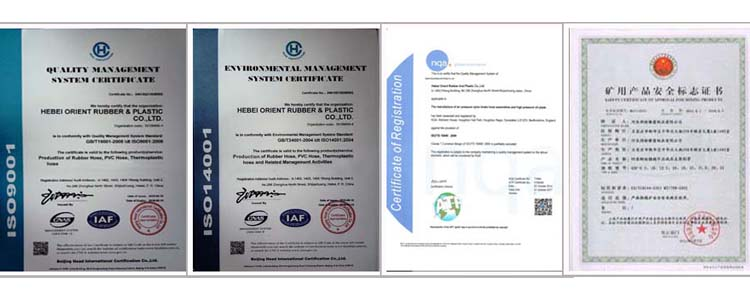 certification of rubber hose